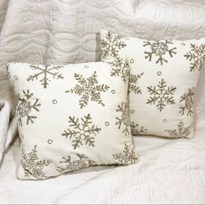 Velvet Sequin Silver Gold Snowflake square Pillows